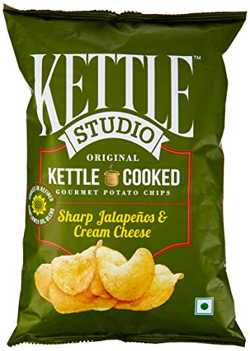 kettle Studio Potato Chips, Sharp Jalapenos and Cream Cheese, 125g  available at amazon for Rs.81