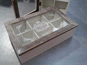 Tea-Box - Aufbewahrungskiste für Tee aus Holz - rustikale Optik - Landhausstil Landhaus