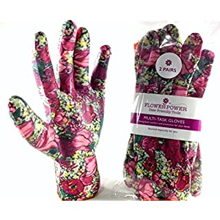 2 Pairs Ladies Gardening Gloves (Medium, Rose Garden Floral) - Lightweight and Durable Work Gloves for Women - Perfect For Garden and Household Tasks - Best Gardening Gift for Women. Buy on Sale NOW