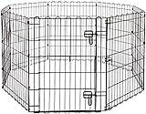 AmazonBasics - Recinzione in metallo per cani, pieghevole, per l'esercizio, 152,4 x 152,4 x 76,2 cm