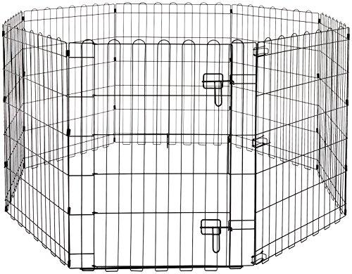 AmazonBasics - Faltbares Metall-Gehege, für Haustier, Hund, Trainingszaun, 152,4 x 152,4 x 76,2 cm