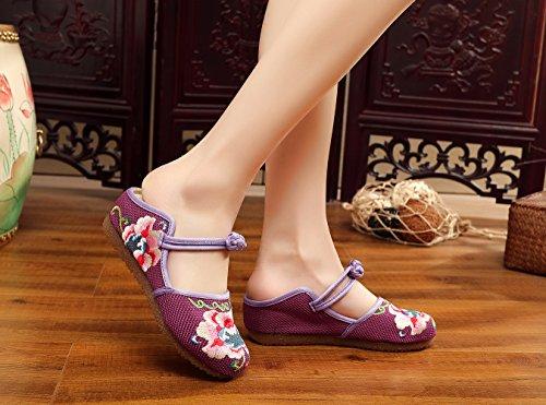 Insun Damen Espadrilles Slipper Flats Schuhe Blume Stickerei Hausschuh Tanzschuhe Violett