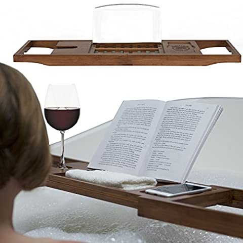 Luxury Bath Book Holder & Rack, Premium Natural Bamboo Bathtub Caddy with Extending Sides, Wine Glass, Reading & Tablet Stand – Warm Walnut Brown Wood - Great Christmas Gift