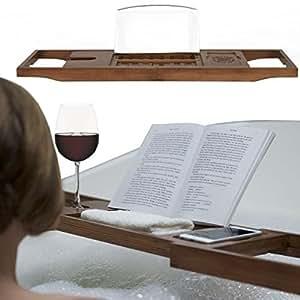 Porta Libro Da Bagno E Porta vassoio per vasca da bagno di bambù naturale di qualità superiore, con lati estensibile, vino vetro, lettura e supporto tablet - caldo Noce Legno Marrone