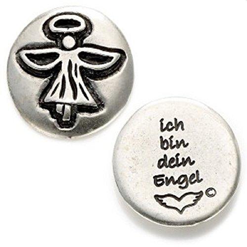 Talisman Engel-Münze Rückseite Text 'ich bin dein Engel' Angels welcome versilbert - als Handschmeichler, für den Geldbeutel und als kleines Geschenk im richtigen Moment Größe:28mm -