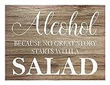 Preis am Stiel Bild mit Seil ''Alcohol''   Wanddekoration   Planken Schild   Holzschilder   Wohnaccessoires   Wandschild   Schild mit Spruch   Holzbilder   Geschenkidee für Freunde