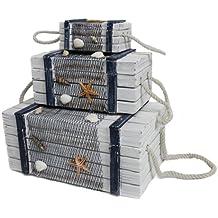 3piezas madera Baúles Juego Deko maletín Estantería Cajas Cajas Maritim