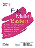 Foto-Malen-Basteln Bastelkalender A5 weiß 2019: Fotokalender zum Selbstgestalten. Aufstellbarer do-it-yourself Kalender mit festem Fotokarton.