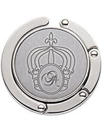 AMAVEL Handtaschenhalter mit ausklappbarem Haken und Gravur - Krone – Personalisiert mit [Initiale] – Taschenhaken aus Metall – Geschenk-Idee für Frauen