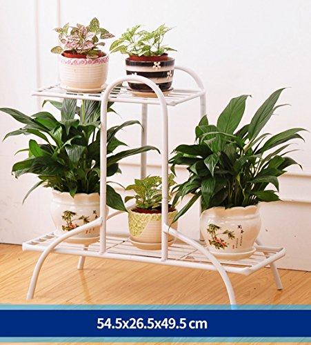 Pflanzenstandplatz Schmiedeeisen Multipurpose Flower Stand Plant Display Rack geeignet für Outdoor Wohnzimmer Balkon | 3 Farbe (Farbe : Weiß)