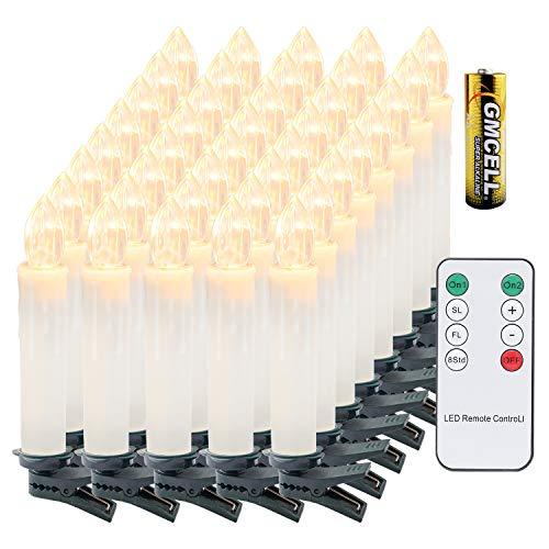 VINGO 40 Stück Weihnachten LED Kerzen mit Fernbedienung Kabellos Warmweiß Kerzen Timerfunktion mit Batterien Kerzenlichter Baumkerzen
