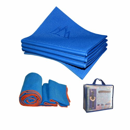 Khataland Yoga Set-YoFoMat (Patented Folding Yoga Mat) + Equanimity Premium Yoga Towel + Travel Bag, Blue, 72x24.5-Inch/Blue