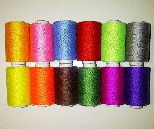 12 Rotoli di poliestere colori assortiti Set per cucire, Colori arcobaleno