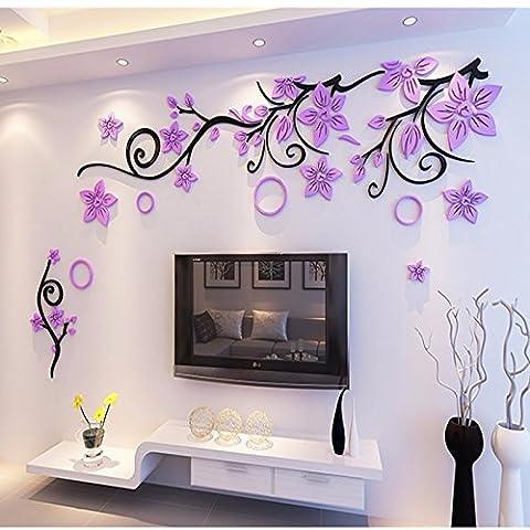 lzzfw Wandaufkleber Blume Rattan Acryl 3D Stereo Schlafzimmer Wohnzimmer Selbstklebe schwarz Zweig Licht lila Blume, 140 * (Architektur Blumen)