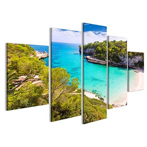 Quadro moderno Mallorca Cala Llombards playa de Santanyi Mallorca en las Islas Baleari España Impresión sobre lienzo–Cuadros modernos X sillones salón cocina muebles oficina casa. FYX
