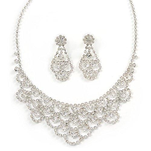 Brautschmuck Kristall klar 'LACY' Lätzchen Halskette und Drop Ohrring Set in rhodiniert Metall-40cm L/10cm EXT -