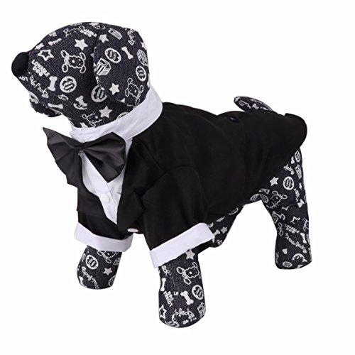 Gentleman Smoking Anzug Welpe Hund Katze Kleidung Mantel mit Fliege Hochzeit Party Festlich Kostüm S-XXL Schwarz&Weiß S (Weiße Katze Halloween Kostüm)