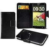 (Black) LG G Pro Lite Super dünne Kunstleder Saugnapf Wallet Case Hülle mit Credit / Debit Card SlotsBy Fone-Case