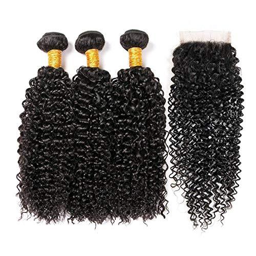 Clarolair capelli umani extension ricci capelli umani con chiusure brasiliano viziosa capelli ricci con chiusura brasiliana capelli ricci fasci (100 +/-5g)/pc(12 12 12+10'' chiusura)