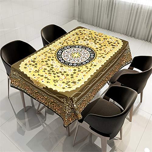 Kristall Rechteckigen Tisch Lampe (QWEASDZX Tischdecke Mandalas aus Polyestergewebe Digitaldruck Vintage-Dekoration Tischdecke Rechteckiger Tisch Geeignet für Innen- und Außenbereich Wiederverwendbare Küchentischdecke 150x150cm)