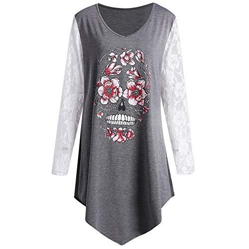 (IZHH Damen Plus Size Shirt, Skull Printed Lace Unregelmäßiger Rand Langarm Pullover Tops Bluse Printed Lace Stitching Top(Grau,XXXX-Large))