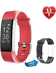 Fitness Tracker HR,Letsfit Fitness Armband Uhr mit Pulsmesser, IP67 wasserdichte smart Watch Sport Fitness Aktivitätstracker Schrittzähler,Bluetooth Touchscreen Armbanduhr mit Herzfrequenz / Schlafanalyse / Kalorienzähler,SMS Anrufe Reminder Fitness Uhr mit einem Ersatzarmband für Android und iOS