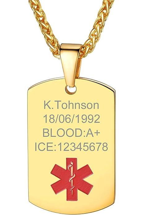 Custom4U Acero Inoxidable Chapado en Oro Amarillo 18K Collar ID Alerta Medical Etiqueta de Perro Personalizado Letras Grabar Láser Gratis Regalo para Ancianos Enfermos: Amazon.es: Joyería