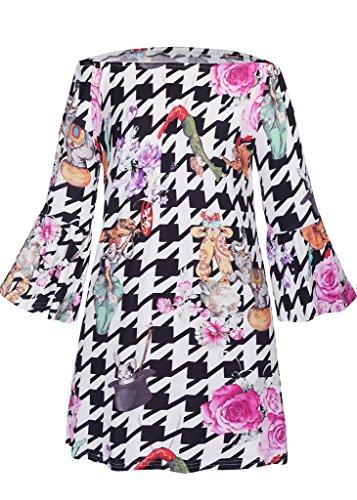 Meijunter Sommer-Frauenrock Weinlese-Blumendruck-lange Hülse A-liniges beiläufiges Kleid-Partei-Bleistift-Kleid W557
