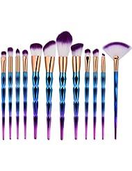 Bulary Pinceau Maquillage Licorne 12PCs Kit Pinceaux Maquillage Professionnel Fond de Teint Poudre Blush
