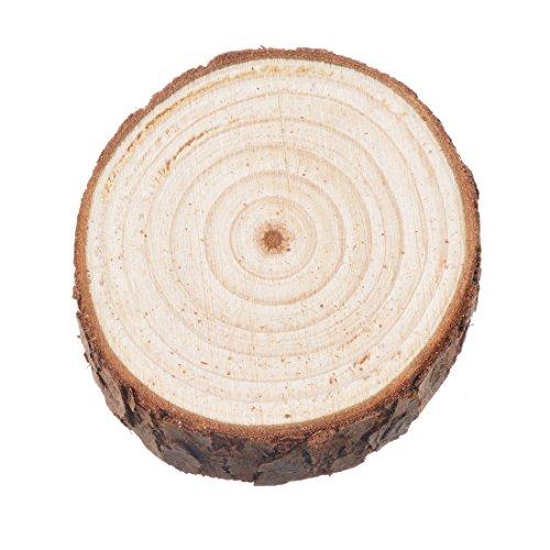 Discos de madera natural Souarts, secciones de tronco de árbol con corteza,...