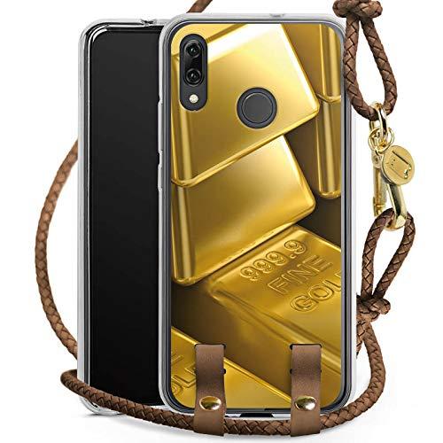 DeinDesign Carry Case kompatibel mit Huawei P Smart 2019 Hülle zum Umhängen Handykette Goldbarren Gold Barren