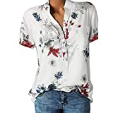 VECDY Damen Oberteile Frauen Tops Sexy Bedruckte Tasche Plus Size Kurzarmbluse Easy T-Shirt Mode Pullover Bluse Sweatshirt Beachwear S-5XL