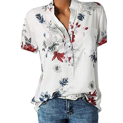 BaZhaHei Top Damen Sommer Damenmode V-Ausschnitt Print Langarm-lose Tops T-Shirt Bluse Mode Dame Tshirt Lange ärmel Shirt Bedruckte Tasche Plus Size Kurzarmbluse Easy Top Shirt (XXL, Weiß) -