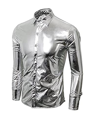 Costumes Dhalloween Lumières - Cusfull Mode Hommes Longues Chemises Bling Brillant