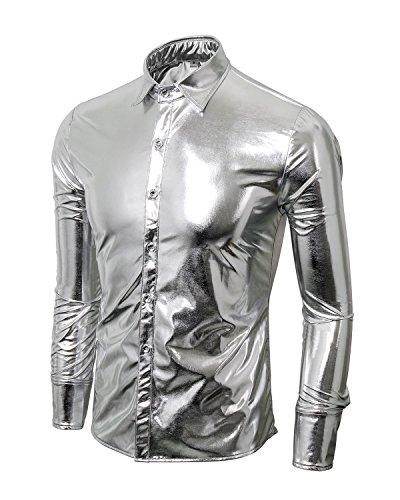 Halloween Disco Für Kostüme (Cusfull Herren Hemd Metallic Glänzend Langarmshirt Glitzer Schlank Fit Kostüm für Nightclub Party Tanzen Disco Halloween Cosplay(Silber,)