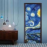 WMYWMY Adesivi per Porte Adesivo Murale Van Gogh Cielo Stellato Carta da Parati in PVC Creativo Autoadesivo per Rinnovare Stampa su Tela Picture Art Decorazioni per La Casa
