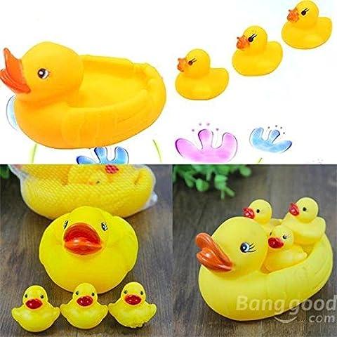 philmat Gummi-gelbe Enten-Set Familie Baby Kids Kinder Bad Dusche Schwimmen Ring Badewanne Dusche Party Geschenk quietschende Spielzeuge