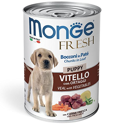 Monge Fresh Puppy Bocconi in Patè con Vitello e Ortaggi 400 gr 1 Lattina