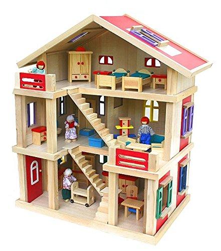 Riesengroßes Puppenhaus Holz 54x37x69cm mit Möbel und Puppen