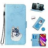 BONROY Samsung Galaxy J4 Plus H�lle Retro Design PU Ledercase Tasche Schutzh�lle Scratch Magnetverschluss Telefon-Kasten Handyh�lle Bookstyle Handycover-(TX-himmelblau) Bild