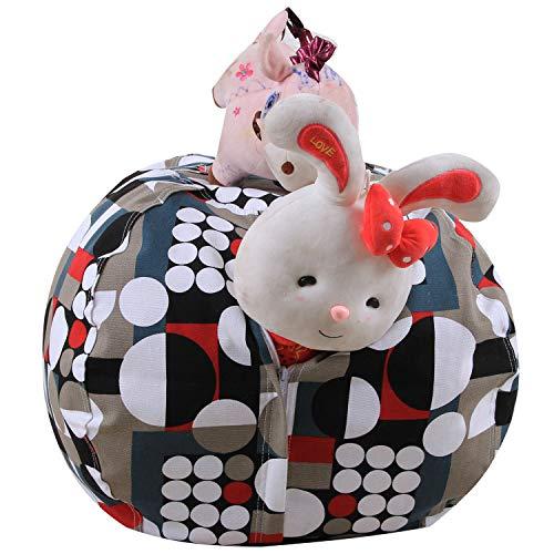 MRXUE Kinder Plüsch-Spielzeug-Aufbewahrungsbeutel Bean Bag Speicher Für Weiches Spielzeug, Aufbewahrung Bohnenbeutel, Bean Bag Stuhl Leicht Zu Reinigen Gitterfarbe,38In