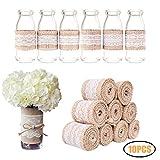 10 Pcs natural de arpillera artesanía cinta rollo con encaje blanco 5CM x 1M para DIY hecho a mano artesanías de boda decoraciones encaje de lino regalo arreglos florales por Halicer