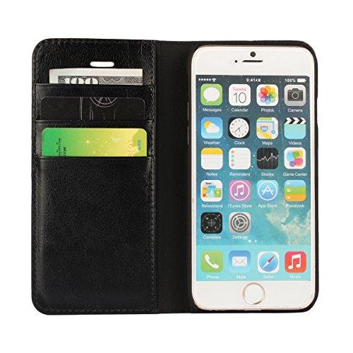 """MOONCASE iPhone 6 Plus Case Housse en Cuir Étui pour iPhone 6 Plus (5.5"""") Coque Cover à rabat de Protection Rouge Noir"""
