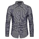 IZHH Herren Business Hemden, Slim Fit Hemden Langarm Streifen Painting Button Plus Size LäSsige Top Bluse Shirts Herren Hochzeitshemden(Schwarz,2XL)