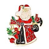 DDLKK Weihnachtsmann Broschen Weihnachten Broschen fFür Frauen Party Legierung Überzug Geschenke Für Frauen Strass Diamant Emaille Pin Multicolor Niedlich Pins Paar Frauen Modeschmuck