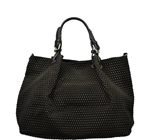 Schöne praktische Leder Schwarze Handtasche aus Leder Belloza Nera über die Schulter (Dkny Taschen Leder)