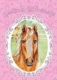 bentino XXL Glückwuschkarte mit Musik'Pferd' für Mädchen | Geburtstagskarte mit Streicheleffekt | Grußkarte mit Umschlag A4 | Interaktive Klappkarte mit Fell | Karte mit Streicheleffekt