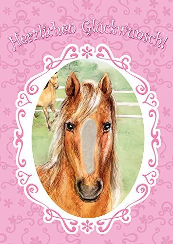 """bentino XXL Glückwuschkarte mit Musik\""""Pferd\"""" für Mädchen   Geburtstagskarte mit Streicheleffekt   Grußkarte mit Umschlag A4   Interaktive Klappkarte mit Fell   Karte mit Streicheleffekt"""