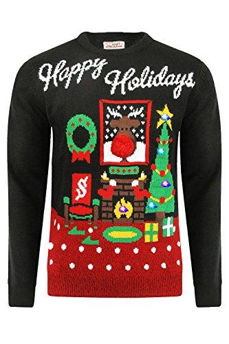 Erwachsene Threadbare Designer Neuheit Leuchtend 3D Weihnachten-jumper Happy Holidays - Black