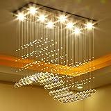 Wenrun Lighting Restaurant LED 3 Helligkeit K9 Kristall und Chrom Spiegel Edelstahl Kronleuchter Deckenlampen Hängelampe Lüster Leuchte Lampen Licht Mit LED Glühbirne und Fernbedienung (L60cm x W30cm x H70cm)